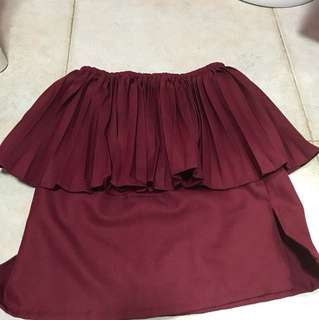 Maroon pleated tube top