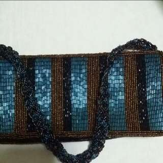 Turquoise and Multicoloured Vintage Style Beaded Bag. Lined with brown satin inside. Purchased from WAREHOUSE UK. Part of proceeds from this will go to charity. Thank you.