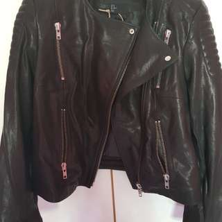 H&M Black Genuine Leather Biker Jacket