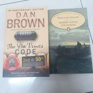 DAN BROWN - THE DA VINCI CODE & ROBERT LOUIS STEVENSON - TREASURE ISLAND