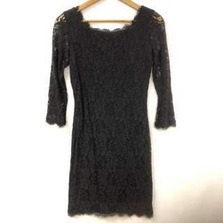 DVF black lace dress size 4