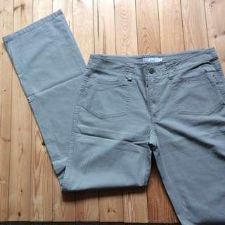 Sleek Grey Cotton Pants w Front & Back Pockets