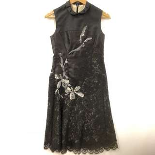 Shiatzy Chen black with lace vest dress size F 38
