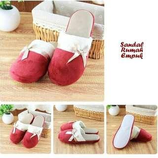 Sandal Rumah Empuk Model Pita Warna Menarik Wine Red