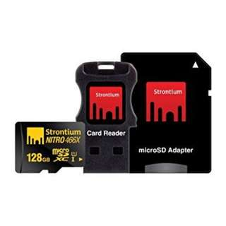 STRONTIUM NITRO 128GB MICROSDXC UHS-I MEMORY CARD WITH ADAPTER