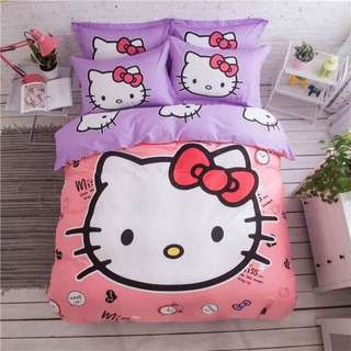 Hello Kitty 100% COTTON 5 in 1 Comforter Set Bedsheets