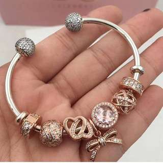 Pandora Rose Charm Open Bangle