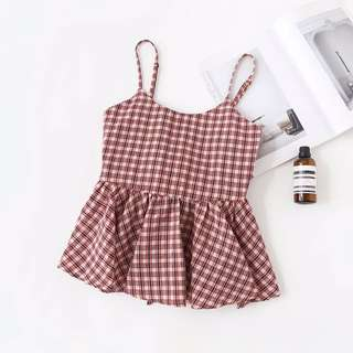 [PO] checkered babydoll top