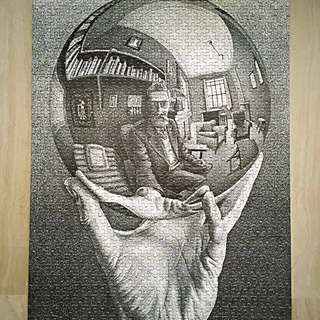 Surrealism PUZZLE art piece 'Hand with Reflecting Sphere' by Maurits Cornelis Escher. Op art Expressionism Realism, Cubism Northern Renaissance Modern art Science Museum