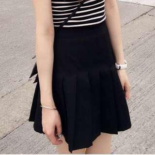 Aland- 黑色百褶短裙