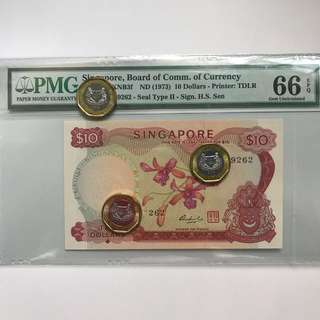 $10 orchid series error note PMG graded 66EPQ Serial number error