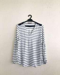 ZARA Striped Long Sleeves Blouse