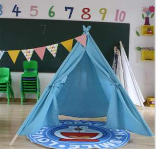 Blue cotton teepee with wooden poles 1.6m