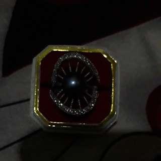 Cincin rhodium mutiara air tawar.. asli khas lombok