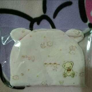 《全新》保暖熊熊帽子0-12M/粉色女寶寶