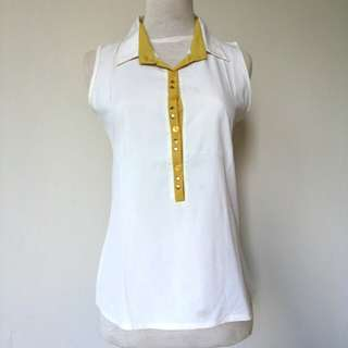 (45rb) Top chiffon white list yellow, LD88,pjg61