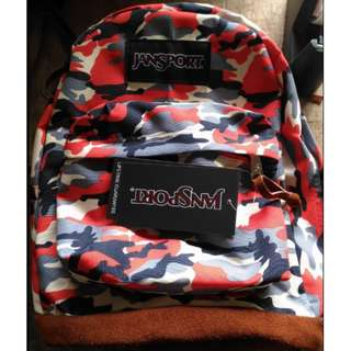 Jansport Red Camou Classic Leatherbottom