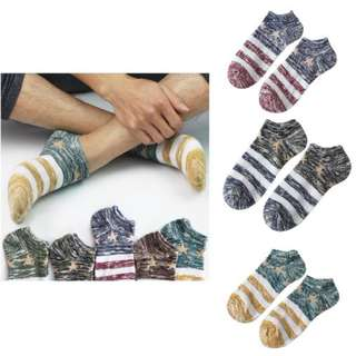 Star Business Crew Ankle Low Cut Casual Stripes Socks
