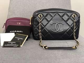 Chanel black quilted camera case shoulder bag