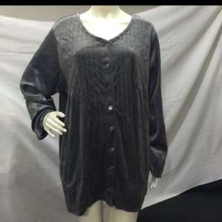 WOMAN WITHIN plus size gray button down long sleeves women blouse xxl