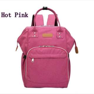 Diaper bag in hot pink