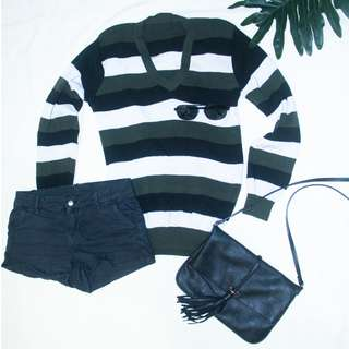 Overzized Knitted Striped Sweater