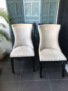 Two cream upholstered fabric chairs