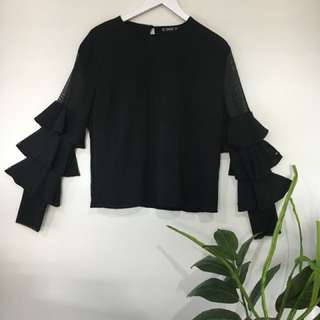 Layered frill sleeve 1 1/2 sheer top.