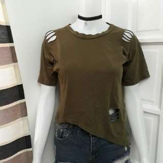 Army green tattered shirt