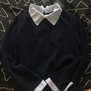 BNWOT Navy collared sweater