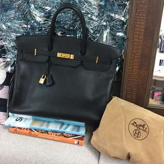 Hermès Birkin 鉑金包 40cm 黑色金扣 100%正品Authentic 任驗 O字Y刻印 2手 日本銀座有購買驗證卡