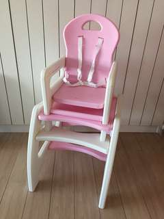 Pink 2-in-1 Baby High Chair & Study Table