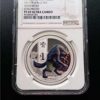 2013年 澳洲伯斯神獸系列之狼人精鑄版銀幣1盎司銀幣 連証書盒 高分 NGC69