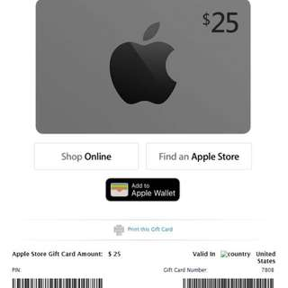 US Apple store Gift card US$25