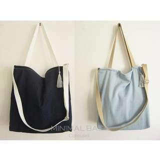 Instock BN Denim Canvas Tote Bag Sling Crossbody Single Shoulder Zipper Closure