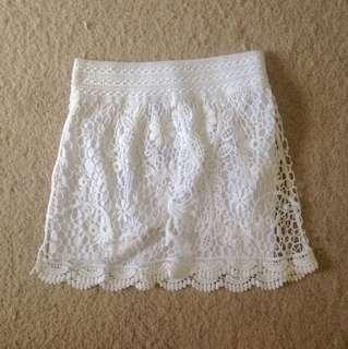 Topshop white lace mini skirt