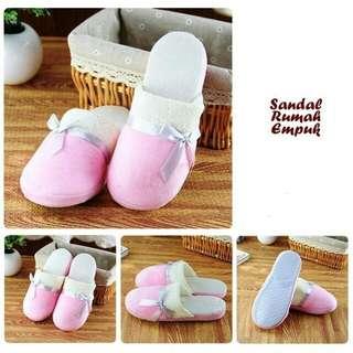 Sandal Rumah Empuk Model Pita Warna Soft Pink