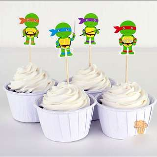 12 pcs TMNT Teenage Mutant Ninja Turtles Cupcake Toppers Cake Topper Muffin Decoration Baking Picks Birthday Party