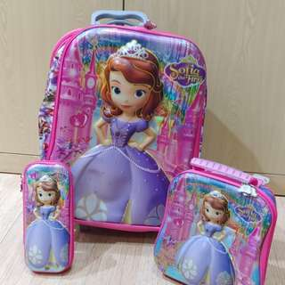 School bag trolley, lunch box and pencil case for girls