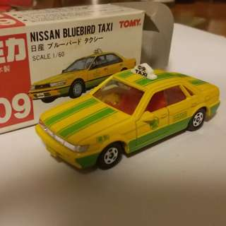 Tomica tomy tomy車 no 109 號 Nissan Bluebird taxi 1:60 日本製