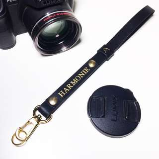 Camera Wrist Strap - Black (Italian Leather, Personalized, Custom, Engraving, name, monogram) | Avaloncraft