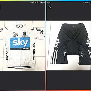 Cycling Jersey set (Team Sky Pro Bicycle)Nt bib (Size M)