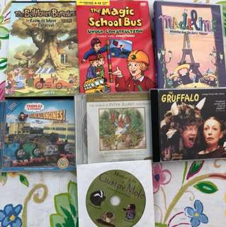 Children's CD and DVD include Magic School bus DVD, Gustavo Mole Audio CD, Peter Rabbit Audio CD, and a book musical life of Gustav mole