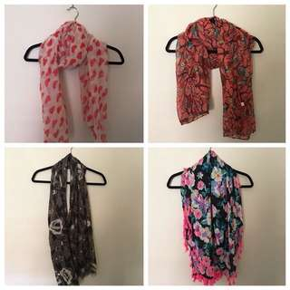 $10 x 3 scarves. (bottom right are sold)
