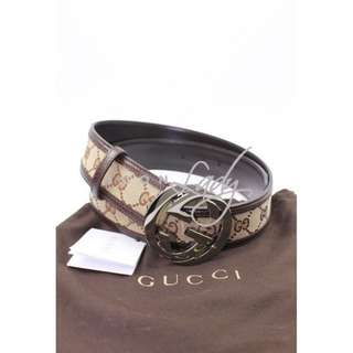 GUCCI 114876 銀色GG扣 配啡色GG帆布皮帶