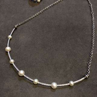 Charriol silver necklace and ring with pearls