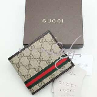 GUCCI 138086 經典GG Plus帆布 配紅綠色標誌織帶 短錢包 銀包