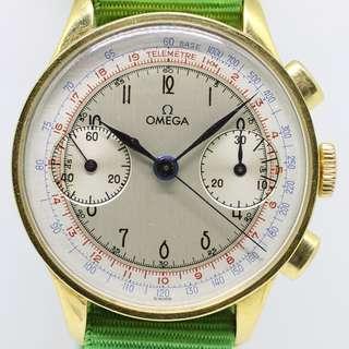 Vintage Omega Cal 33.3 Chronograph Multicolor Dial 18k YG