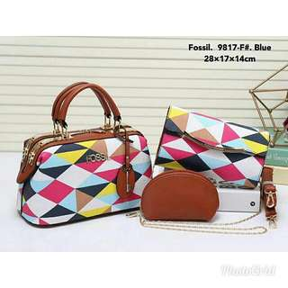 Offer !! Fossil Handbag 3in1