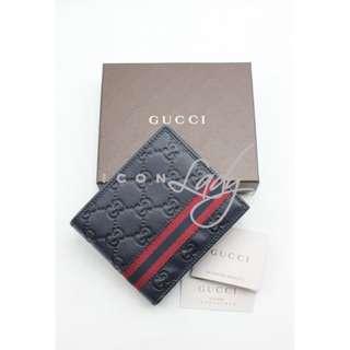 GUCCI 138086 深藍色 Guccissima 壓紋皮 配紅/深藍/紅色標誌織帶 短錢包 銀包